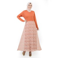 Jfashion Long Dress Gamis Maxi tangan Panjang Kombinasi Brukat - Shakila
