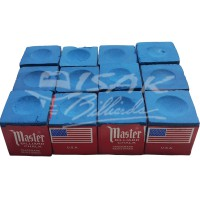 Master Chalk USA - 12 Piece Billiard Chalk - Kapur Biliar - Biru