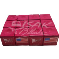 Master Chalk USA - 12 Piece Billiard Chalk - Kapur Biliar - Merah