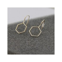 RAT1091W - Aksesoris Anting Hexagonal Metal Earring