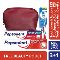 [BUNDLE] PEPSODENT WHITE 225 GR & PEPSODENT ACTION 123 190 GR & PEPSODENT SIKAT GIGI ACTION 123 1 PC - FREE COSMETIC POUCH