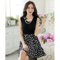 [DJ] Korean female waist retro round neck sleeveless dress
