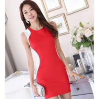 [DJ] Korean Slim Women OL temperament package hip sleeveless dress round neck sleeveless dress