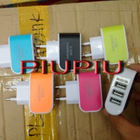 Batok Charger / Adaptor Warna Colourful 3 USB / Colokan 3.1 A Smartphone