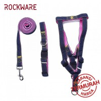 ROCKWARE Dog Leash Adjustable Harness Neck Collar Set Canvass Model Pink