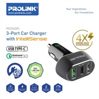 Prolink PCC34201 3-Port Car Charger Intellisense 4.2W with USB Type-C
