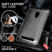 Soft Leather Gel Case Asus Zenfone 5 A500CG/KL Softcase Silikon Jelly - Hitam