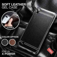Soft Leather Gel Case LG X Power XPower Softcase Jelly Silikon Casing - Hitam