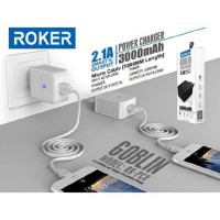 Roker Goblin 2.1A RK-PC8 Charger With Powerbank 3000mAh + Kabel Micro