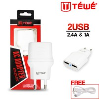 TRAVEL CHARGER TEWE 2 USB 2.1A REAL MICRO