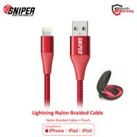 Sniper Cable Nylon Braided Lightning 3ft /0.9m - Red