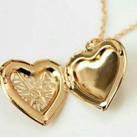 Women hollow gold silver heart pendant long necklace