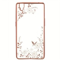 Case Flower Diamond Softcase Oppo R7 - Rose Gold