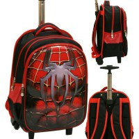 Tas Trolley SD Gagang Stainles Spiderman Otot 6D Timbul Soft HardCover