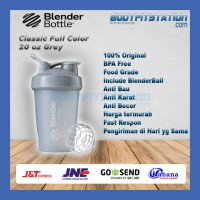 Shaker Blender Bottle Classic 20 oz Pebble Grey - air asli botol blenderbottle import minum ml ori original polos shake tumbler US water