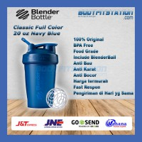 Shaker Blender Bottle Classic 20 oz Navy - air asli botol blenderbottle import minum ml ori original polos shake tumbler US water