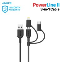 Kabel Charger Anker Powerline II 3-in-1 Lightning/Type C/Micro USB A8436 Black