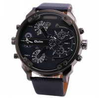 Oulm Jam Tangan Analog Leather Strap- 3548 - Black