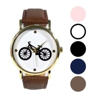 Jam tanagan Analog Strap Leather Wanita |  Bicycle Pattern Watches - FINX - 204