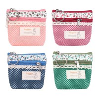 KOREAN STYLE ★ [#001] Canvas Pattern Coin Pouch Collection/KeyChain/Zipper Wallet/Dompet koin