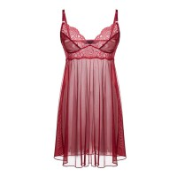 Valentine Secret Babydoll Sheer Chemise - Red