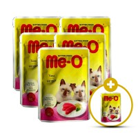 BUY 5 GET 1 FREE CP PETFOOD Me-O Pouch Kitten Food Tuna and Sardine In Jelly Makanan Kucing [80 g]
