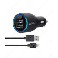 Belkin MIXIT Adapter Charger Mobil Dual USB / Kabel Lightning / iPhone 5 / 6 / iPad / iPod - Hitam
