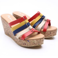 Dr.Kevin Women Wedges Sandals Leather 27339 Combination