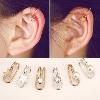 Anting Korea Klip Telinga Berlian Tunggal Impor