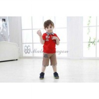 Stelan Anak Laki MD Red Set Brown Pant Impor