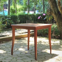 Meja Bar - Meja Serbaguna Kayu dan Anyam Rotan - Rossi Bar Table 90cm