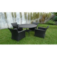 Kursi Makan / Set Kursi Makan & Meja Rotan Sintetis - Taranto Dining Set-4 Chair+Table