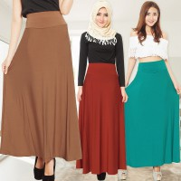 A-Line Maxi Skirt | 12 warna | Hijab Chic Style