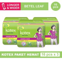 3 PACK KOTEX FRESH LINER LONGER & WIDER DAUN SIRIH ISI 16