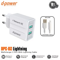 Dpower DPC-02 2 Ports Wall Charger With Lightning Cable