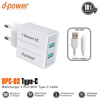 Dpower DPC-02 2 Ports Wall Charger With Type-C Cable