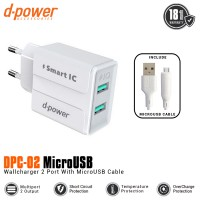 Dpower DPC-02 2 Ports Wall Charger With MicroUSB Cable