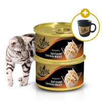 Makanan Kucing Premium Sheba Succulent Chicken Breast/Tuna Whitemeat & Snapper - 2pcs FREE Mug
