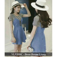 dress wanita cantik murah - baju korea murah - VL93DDC - dress denim crossy