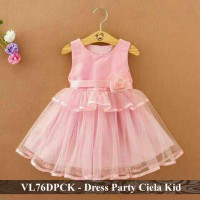 dress anak perempuan murah - grosir baju anak - VL76DPCK - Dress party ciela kid  fit 3-5 tahun