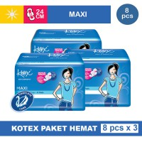 3 PACK KOTEX SOFT & SMOOTH MAXI PLUS WING ISI 8