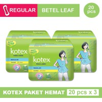 3 PACK KOTEX FRESH LINER REGULAR DAUN SIRIH ISI 20