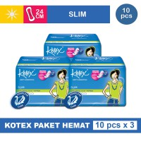 3 PACK KOTEX SOFT & SMOOTH SLIM NON WING ISI 10