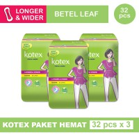 3 PACK KOTEX FRESH LINER LONGER & WIDER DAUN SIRIH ISI 32