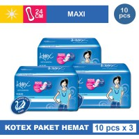 3 PACK KOTEX SOFT & SMOOTH MAXI PLUS NON WING ISI 10