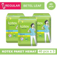 3 PACK KOTEX FRESH LINER REGULAR DAUN SIRIH ISI 40