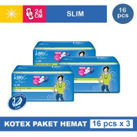 3 PACK KOTEX SOFT & SMOOTH SLIM WING ISI 16