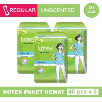 3 PACK KOTEX FRESH LINER REGULAR UNSCENTED ISI 40