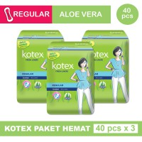 3 PACK KOTEX FRESH LINER REGULAR ALOE VERA ISI 40