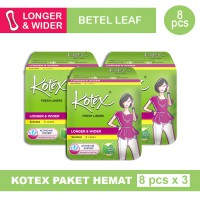 3 PACK KOTEX FRESH LINER LONGER & WIDER DAUN SIRIH ISI 8